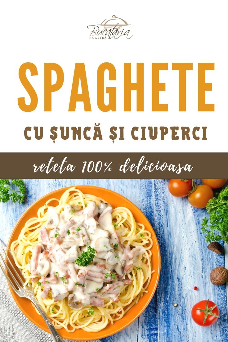 Reteta originala spaghete cu sunca si ciuperci de padure - BucatariaNoastra.ro