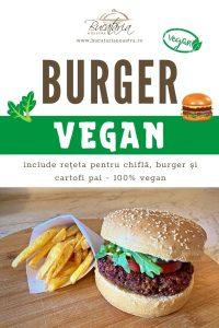 burger vegan reteta completa - burger, chifla vegana si cartofi prajiti